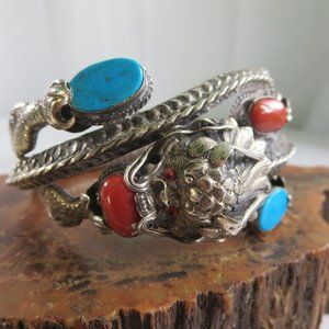 Antique Sterling Chinese Turquoise Coral Bracelet